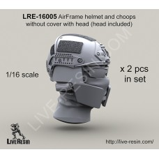 LRE16005 Crye Airframe helmet and choops without cover with head, 1/16 scale