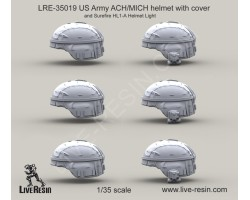 LRE35019 US Army ACH/MICH helmet with cover and Surefire HL1-A Helmet Light