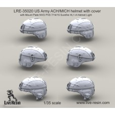 LRE35020 US Army ACH/MICH helmet with cover with Mount Plate NVG PVS 7/14/15 Surefire HL1-A Helmet Light