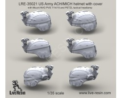 LRE35021 US Army ACH/MICH helmet with cover with Mount NVG PVS 7/14/15 and PETZL tactical headlamp