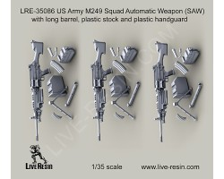 LRE35086 M249 Squad Automatic Weapon (SAW) with long barrel, plastic stock and plastic handguard