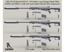 LRE35135 Barrett M107A1 .50 Caliber LRSR and Barrett M107A1 .50 Caliber LRSR CQB with quick-attach Barrett QDL Suppressor