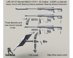 LRE35137 Barrett M82A1/107A1 .50 Caliber (LRSR) on Barrett heavy mount with Bearing Sleeve pedestal, Bearing Sleeve Extension with armour shield