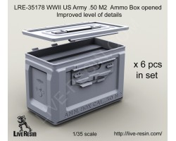 LRE35178 WWII US Army .50 M2 Ammunition Ammo Box opened, improved level of details