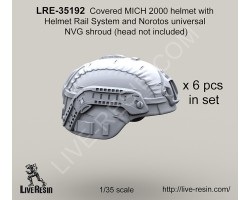 LRE35192 Covered MICH 2000 helmet with Helmet Rail System and Norotos universal NVG shroud