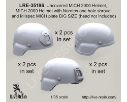 LRE35196 Uncovered Mich Helmet with Norotos one hole shroud and Milspec MICH plate BIG SIZE