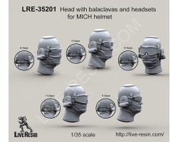 LRE35201 Head with balaclavas and headsets for MICH helmet