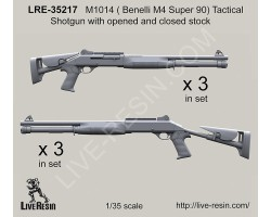 LRE35217 M1014 (Benelli M4 Super 90) Tactical Shotgun with opened and closed stock