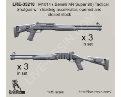 LRE35218 M1014 (Benelli M4 Super 90) Tactical Shotgun with loading accelerator, opened and closed stock