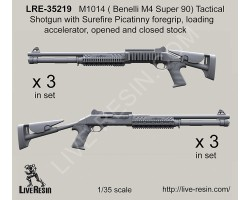 LRE35219 M1014 (Benelli M4 Super 90) Tactical Shotgun with Surefire Picatinny foregrip, loading accelerator, opened and closed stock