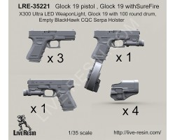 LRE35221 Glock 19 pistol, Glock 19 with Sure Fire X300 Ultra LED Weapon Light, Glock 19 with 100 round drum, Empty BlackHawk CQC Serpa Holster
