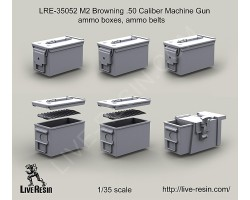 LRE35052 M2 Browning .50 Caliber Machine Gun ammo boxes, ammo belts