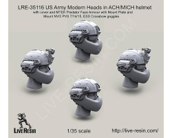 LRE35116 US Army Modern Heads in ACH/MICH helmet with cover and MTEK Predator Face Armour