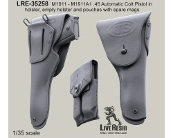 LRE35258 M1911 - M1911A1 .45 Automatic Colt Pistol in holster and pouches with spare mags