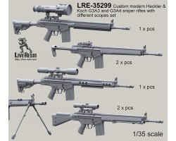 LRE35299 Custom modern Heckler & Koch G3A3 and G3A4 sniper rifles with different scopes set