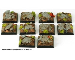 25mm x 25mm Square/Fantasy Rocky Terrain Bases