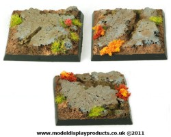 40mm x 40mm Square/Fantasy Rocky Terrain Bases